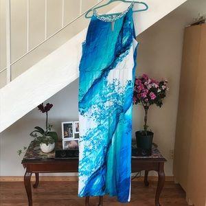 NWOT. Blue waves maxi dress